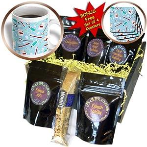 cgb_165818_1 Janna Salak Designs Occupational Gifts - Cute Dentist Dental Hygienist Print Blue - Coffee Gift Baskets - Coffee Gift Basket