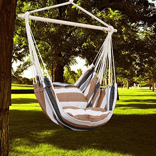KINLO® Amaca a poltrona/Sedia sospesa da giardino con supporto di legno e Cuscino per interno e esterno in cotone Tessuto, portata 100 kg, colore: Marrone