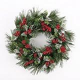 Türkranz Rote Beerenkünstlicher Adventskranz Øca. 50cm Tannenkranz Weihnachten Dekoration christmas