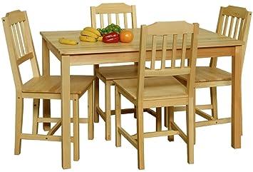FurnAffair Esszimmer Set bestehend aus 1 Tisch und 4 Stuhlen, Material natur lackiert / Ausfuhrung Kiefer massiv
