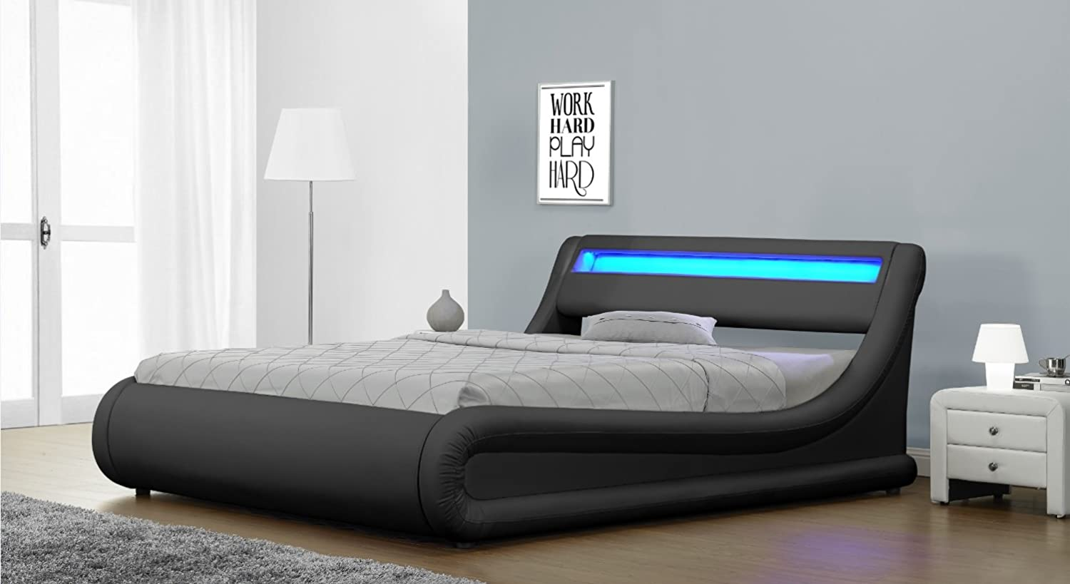 Rio Led Black Designer Curved Ottoman Gas Lift Storage Bed