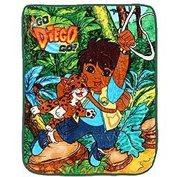 Girls Boys Green Go Diego Go Disney Blanket