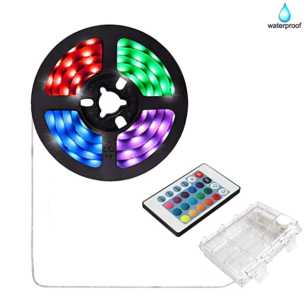 aijiaer Battery Powered Led Strip Lights, 5050 2M/6.6FT, Waterproof Flexible Color Changing RGB LED Light Strip, 60 LEDs 5V Battery-powered with RF Controller (Color: white)