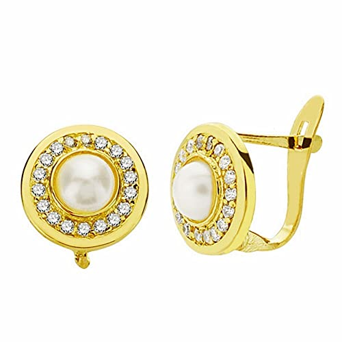 18k gold pearl earrings 9mm. Leverback zircons [AA2360]