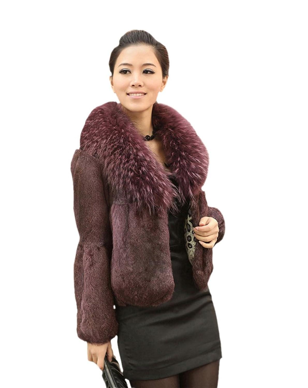 Queenshiny Damen 100% Echte Kaninchen Pelz mantel Jacken Mit Waschbären Pelz kragen Winter Mode günstig online kaufen