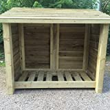 HEAVY DUTY 4 FT LARGE SINGLE BAY WOODEN LOG STORE/GARDEN STORAGE UNIT (5FT X 2.5FT X 4FT)
