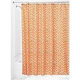 InterDesign Chevron Shower Curtain, 72 x 72-Inch, Burnt Orange/Coral
