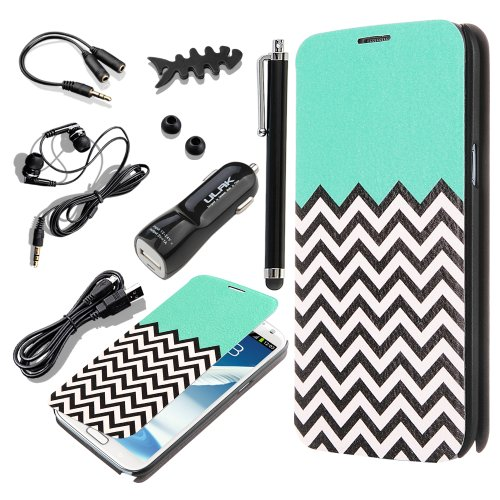 Pandamimi Ulak(Tm) Pattern Pu Leather Folio Case Cover For Samsung Galaxy Note 2 N7100 + Headphone/ Earphone Caps/ Usb Cable/ Car Charger/ Stylus/ Earphone Splitter Cable (1 In 2 Out)/ Fishbone Shape Earphone Cord Winder Newest 7 In 1 (Follow The Sky)