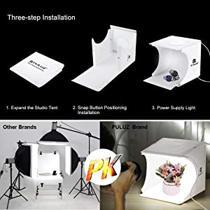 Photo Studio Box with LED Light, PULUZ 20cm Mini Portable Photography Lighting Tent Kit, White Foldable Shooting Softbox with 2x20 Lights + 6 Backdrops for Product Display (Color: 20cm 2*20PCS LEDs)