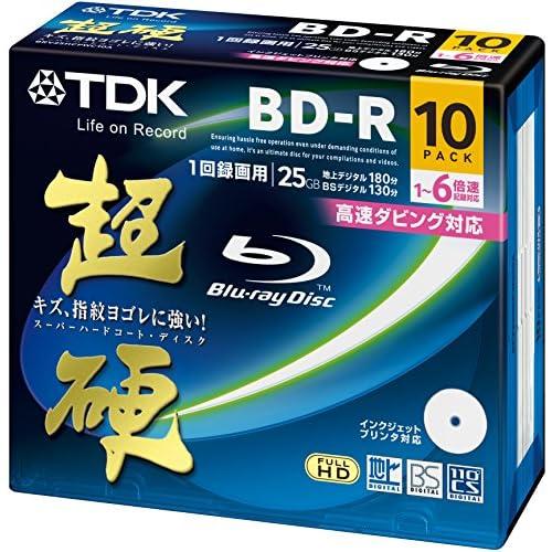 TDK 録画用ブルーレイディスク 超硬シリーズ BD-R 25GB 1-6倍速 ホワイトワイドプリンタブル 10枚パック 5mmスリムケース BRV25HCPWC10A