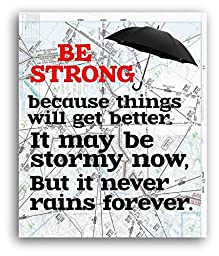 Be Strong Map Print, It Never Rains forever Motivational Wall Decor, Aviation Map, Get Well Gift, 8x10