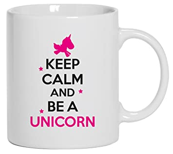 keep calm and be a unicorn einhorn kaffee becher mit motiv. Black Bedroom Furniture Sets. Home Design Ideas