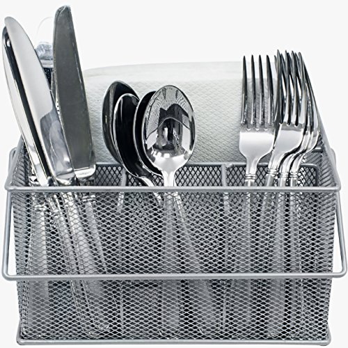 Sorbus Utensil Caddy - Silverware, Napkin Holder, and Condiment Organizer - Multi-Purpose Steel Mesh Caddy-Ideal for Kitchen, Dining, Entertaining, Tailgating, Picnics, and much more (Silver) (Countertop Silverware Caddy compare prices)