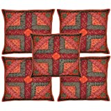 Indian Cotton Cushion Cover Adorn With Patch & Jogi Embroidery Work 16 X 16 Inches