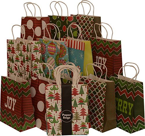 Assorted Christmas Kraft paper gift bags, medium, set of 16 bags, 8