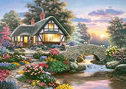 Puzzle 1000 Teile - großes Cottage Heiterkeit - Richard Burns - Landschaft romantisch englisches Gartenhaus Zeichnung Garden gemalt Garten Blumen am Fluß Haus mit Schilfdach