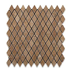 Noce 1-inch Tumbled Diamond/Rhomboid Travertine Mosaic Tile