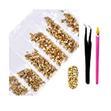 2800Pcs Nail Art AB Crystal Rhinestones - Top Quality Flatback Glass Nail Jewelry Gems Stones with Wax Rhinestone Pen and Tweezers for Nails Decoration Eye DIY Makeup Clothes 6 Sizes (Gold Glaze) (Color: Mix-01, Tamaño: one size)