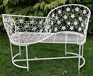 Antique white metal love seat garden outdoors for Garden love seat uk