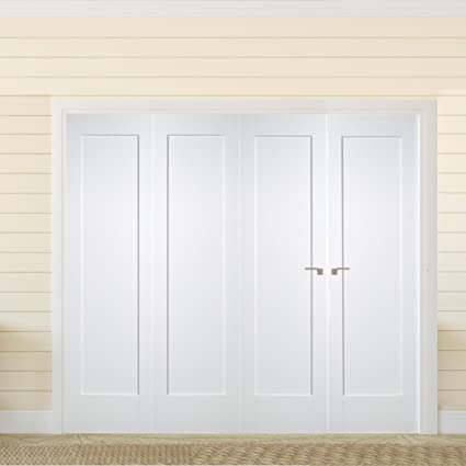 "Green Tree Doors White Primed Shaker 1 Panel Bifold System (686mm (27"") - 2 Doors)"
