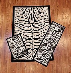 Abrahami Sultan 3-piece Area Rug Set Zebra Black White -Includes Area Rug -Runner - Scatter Rug