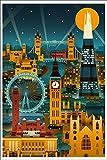 London, England - Retro Skyline (no text) (12x18 Collectible Art Print, Wall Decor Travel Poster)