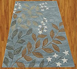 Homemusthaves Blue Gray Brown White Green New Modern Contemporary Floral 3D Polyester Wool Area Rug Carpet (2.6x4 Feet)