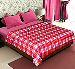 Story@Home Coral Collection Soft Printed Fleece Polyester Double Bed Blanket - Red