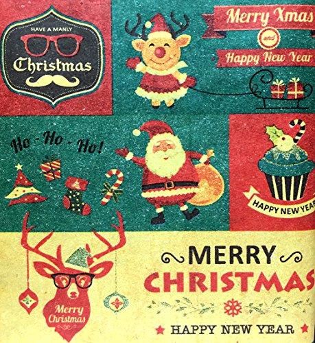 Retro Prints CHRISTMAS KRAFT WRAPPING PAPER (30 inches x 15 feet) 3