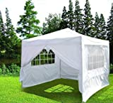 10 X 10' Quictent White Ez Set Pop up Gazebo Party Wedding Tent Canopy Marquee +4 Sidewalls and Carry Bag