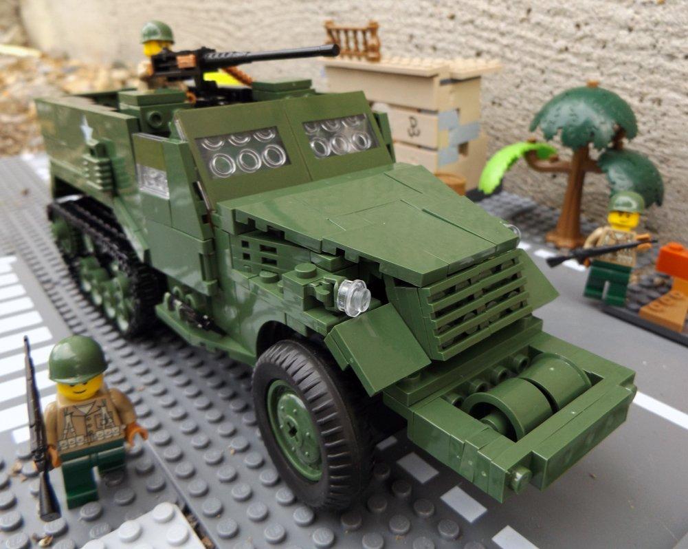 Modbrix 2441- ★ US ARMY Halbkettenfahrzeug M3 Half Track inkl. custom US MARINES Soldaten aus original Lego© Teilen ★ günstig