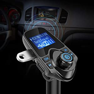 Nulaxy Bluetooth Car FM Transmitter Audio Adapter Receiver Wireless Handsfree Voltmeter Car Kit TF Card AUX USB 1.44 Display - KM19 Black (Color: Black, Tamaño: 1.44 inches)