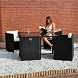 Rattan Effect Cube Table and 4 Chairs Garden Set