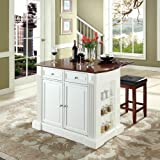Crosley Furniture Drop Leaf Breakfast Bar Top Kitchen Island in White Finish with 24-Inch Cherry Upholstered Square Seat Stools