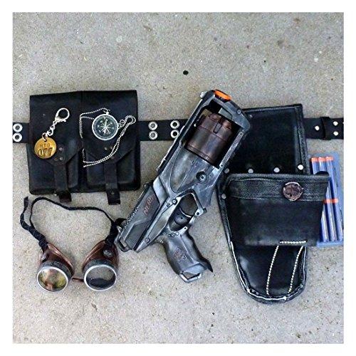 Steampunk goggles+Gun+holster+belt Victorian novelty Nerf Strongarm soft dart
