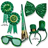 St. Patricks Day Set; St. Patricks Day Light up Glasses, Giant Bow Tie, Award Ribbon Pin, Mini Hat Headband, & Horn on a Chain!!