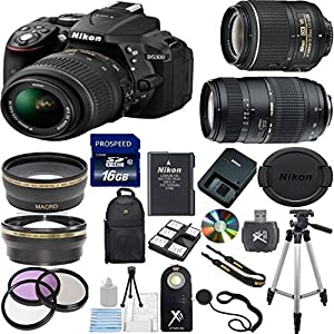 Nikon D5300 24.2MP Digital SLR Camera with 18-55mm VR Lens + Tamron 70-300mm Zoom Lens + 17PC Accessory Bundle (Import Model)