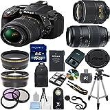 Nikon D5300 24.2MP Digital SLR Camera with 18-55mm VR Lens + Tamron 70-300mm Zoom Lens + 17PC Accessory Bundle (Import Model)