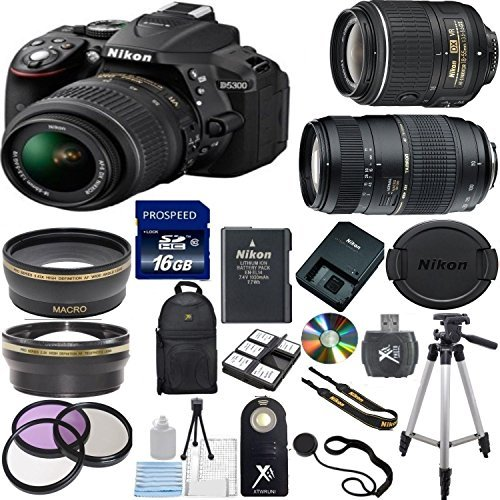 Nikon-D5300-242MP-Digital-SLR-Camera-with-18-55mm-VR-Lens-Tamron-70-300mm-Zoom-Lens-17PC-Accessory-Bundle-Import-Model