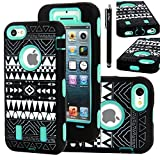 iPhone 5C Case, E LV heavy Duty Rugged Dual Layer Hybrid Tribal Armor Defender Case Cover for iPhone 5C with 1 Screen Protector, 1 Stylus and 1 Microfiber Digital Cleaning Cloth - MINT