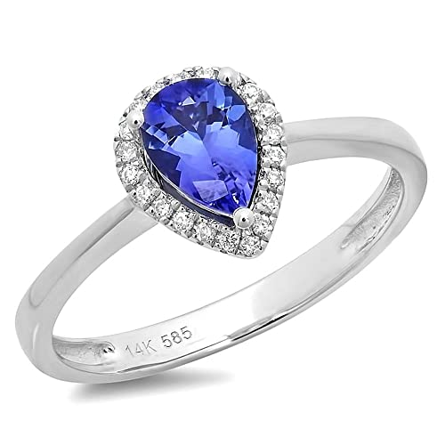 0.7 Carats Tanzanite & diamonds engagement ring white gold 14k