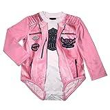 Harley-Davidson Baby Girls' Biker Knit Long Sleeve Newborn Creeper, Pink (6/9M) (Color: Pink, Tamaño: 6-9 Months)
