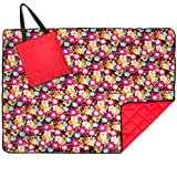 Roebury Picnic Blanket & Beach Blanket - Large Oversized Water-Resistant Sandproof Mat for Outdoor Travel or Camping Folds into a compact Tote Bag [Red Sunflowers - Red Back]