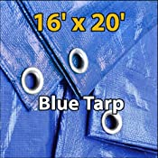 16'x20′ Blue Waterproof Poly Tarp for Camping Hiking Backpacking Tent Shelter Shade Canopy Etc.