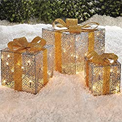 LED Holiday Gift Boxes Battery Operated Set of 3
