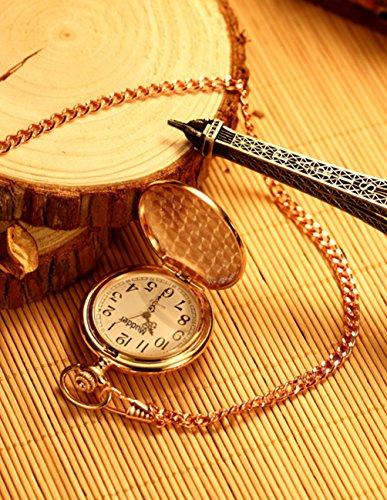 Mudder Classic Smooth Vintage Steel Pocket Watch For Men, Rose Golden 3