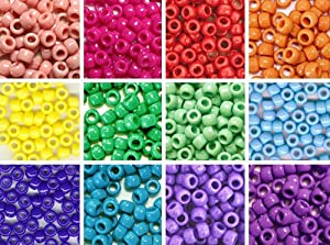 Bead Bee Brand Multi-Color Pony Beads 12 Pack Variety - 12 Color Set - 300 grams (about 1200 beads)
