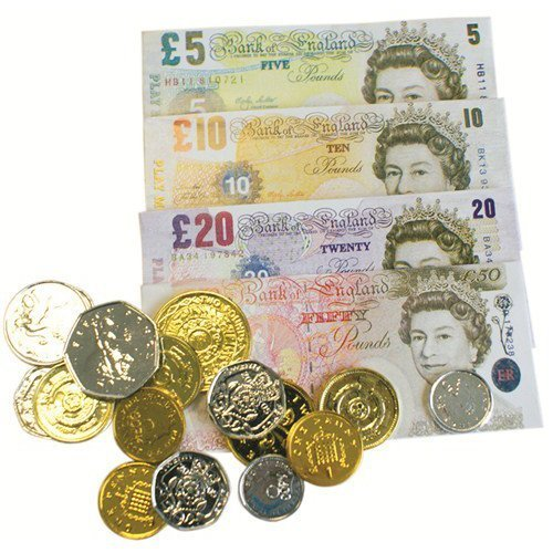 Pretend Toy Money : Play fake money notes coins pounds sterling £ cash pretend