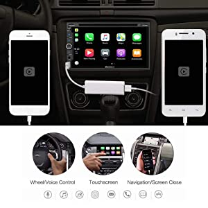 LinkSwell Autokit Carplay Dongle USB Adapter Mini Smartphone Link Receiver Charger for Android Radio,Navigation System Support Touch and Voice Control for iPhone Siri and Android Phone