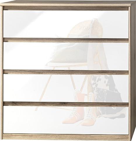 CS Schmalmöbel 75.185.147/22 Grifflose Kommode Soft Plus Smart Typ 22, 45 x 106 x 110 cm, sanremo hell/weiß hochglanz
